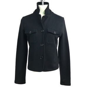 James Perse Black Front Pockets Button Down Blazer
